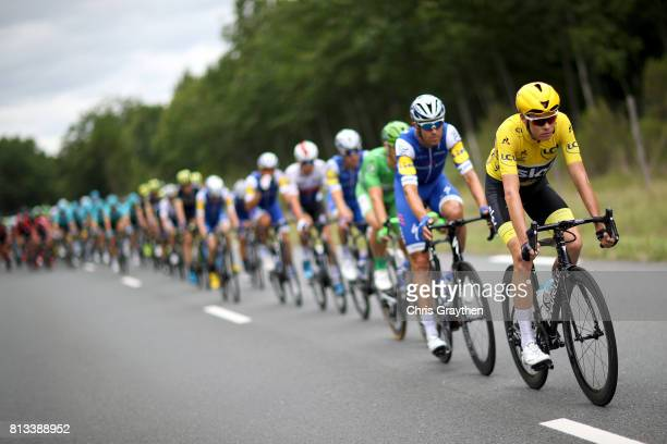 Christopher Froome of Great Britain riding for Team Sky in the leader's jersey rides in the peloton during stage 11 of the 2017 Le Tour de France, a...