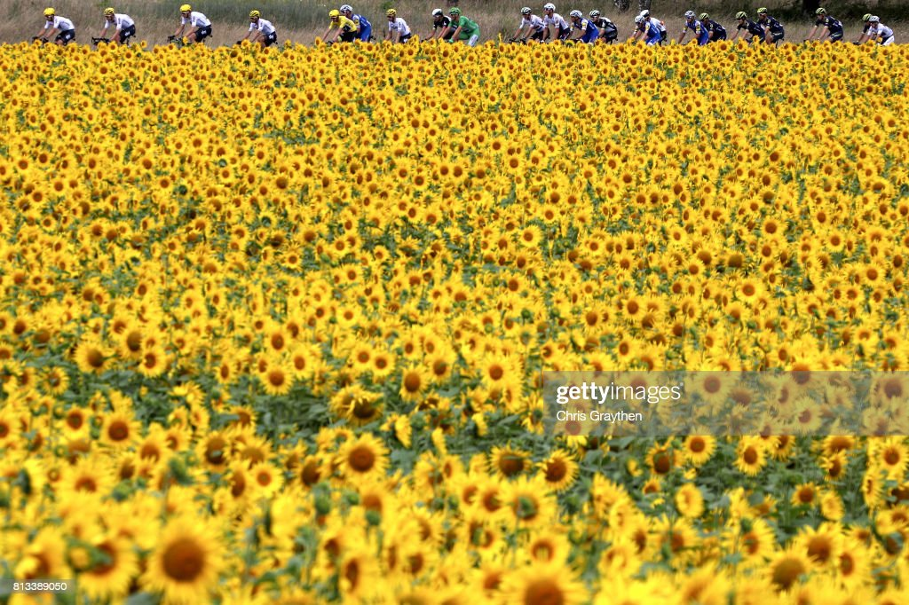 Christopher Froome of Great Britain riding for Team Sky in the leader's jersey rides in the peloton during stage 11 of the 2017 Le Tour de France, a 203.5km stage from Eymet to Pau on July 12, 2017 in Eymet, France.