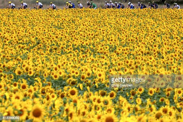 Christopher Froome of Great Britain riding for Team Sky in the leader's jersey rides in the peloton during stage 11 of the 2017 Le Tour de France a...