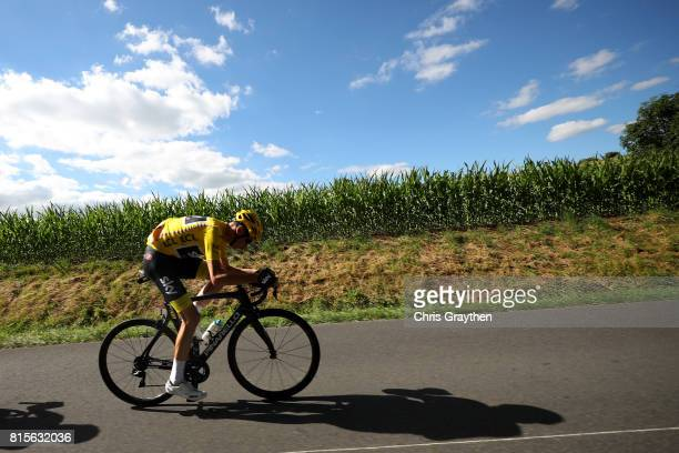Christopher Froome of Great Britain riding for Team Sky in the leader's jersey rides in the peloton during stage 15 of the 2017 Le Tour de France, a...