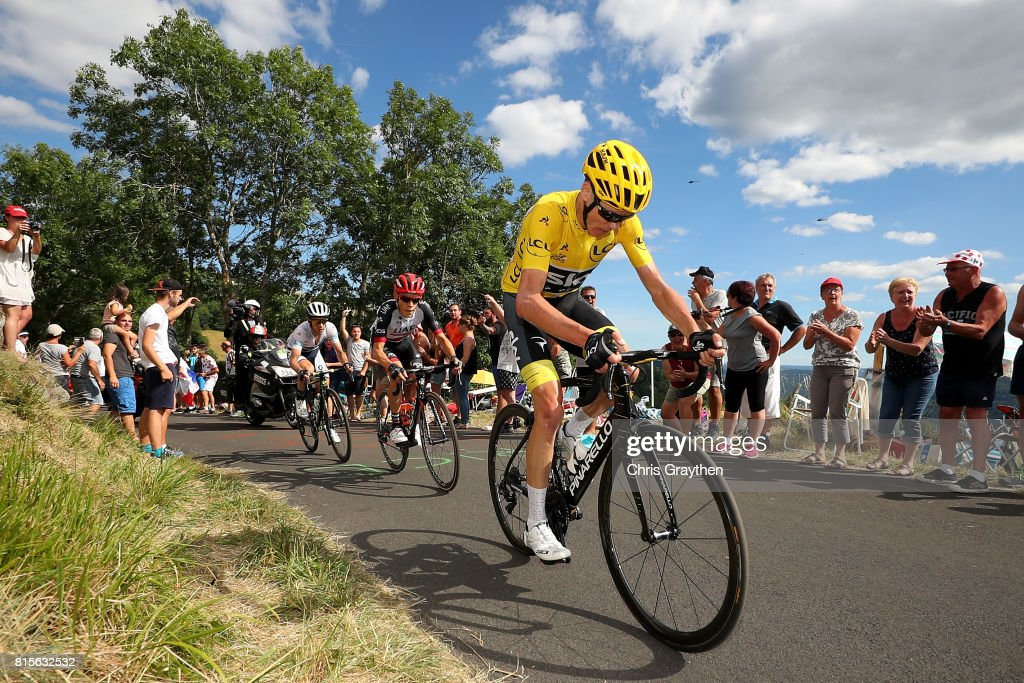 Christopher Froome of Great Britain riding for Team Sky in the leader's jersey rides in the peloton during stage 15 of the 2017 Le Tour de France, a 189.5km stage from Laissac-Sévérac l'Église to Le-Puy-en-Velay on July 16, 2017 in Le Puy-en-Velay, France.