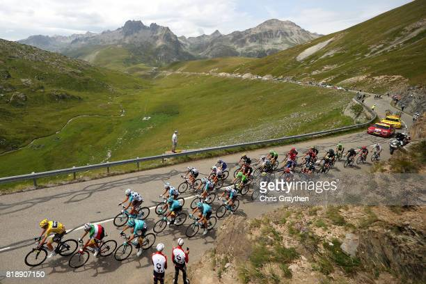 Christopher Froome of Great Britain riding for Team Sky in the leader's jersey rides in the peloton during stage 17 of the 2017 Le Tour de France a...