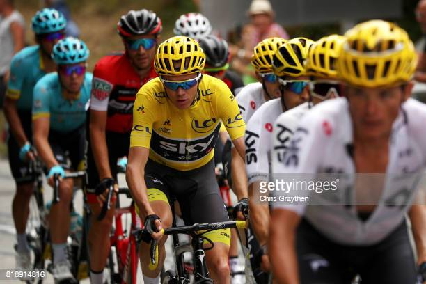 Christopher Froome of Great Britain riding for Team Sky in the leader's jersey rides in the peloton during stage 17 of the 2017 Le Tour de France, a...