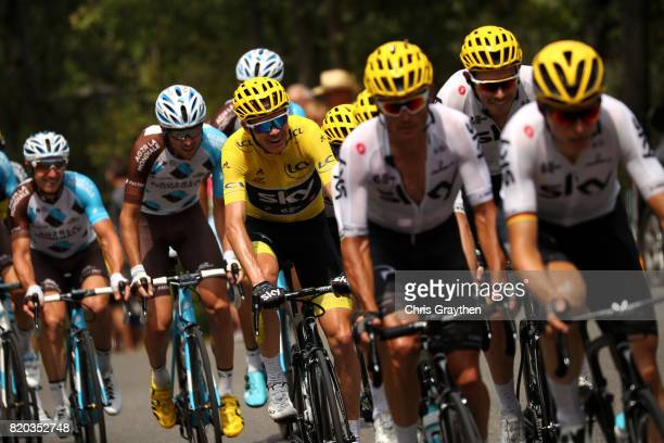 Christopher Froome of Great Britain riding for Team Sky in the leader's jersey rides in the peloton during stage 19 of the 2017 Le Tour de France, a...