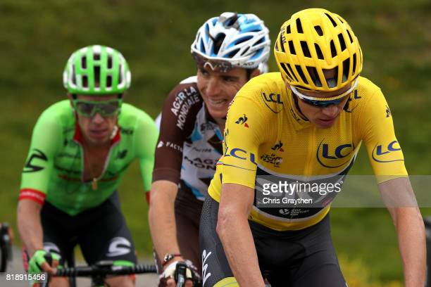 Christopher Froome of Great Britain riding for Team Sky in the leader's jersey Rigoberto Uran of Colombia riding for Cannondale Drapac and Romain...