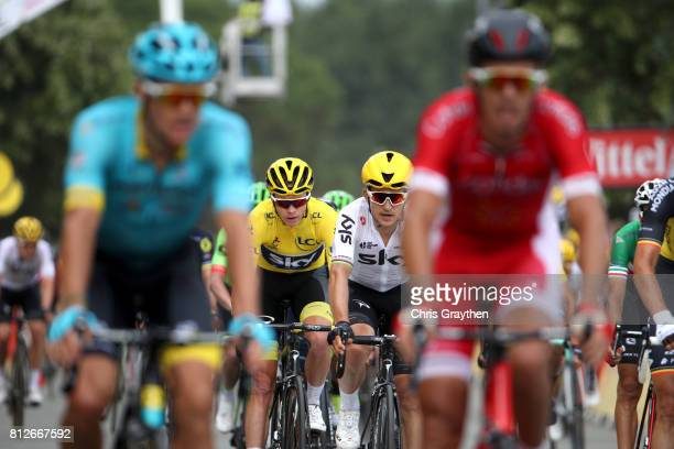 Christopher Froome of Great Britain riding for Team Sky in the leader's jersey crosses the finish line during stage 10 of the 2017 Le Tour de France,...
