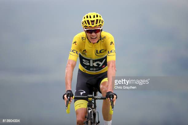 Christopher Froome of Great Britain riding for Team Sky in the leader's jersey crosses the finish line during stage 12 of the 2017 Le Tour de France,...