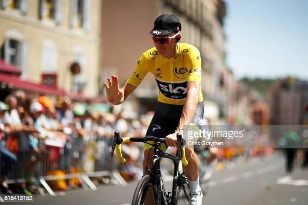 Christopher Froome of Great Britain riding for Team Sky in the leader's jersey rides to the start of stage 16 of the 2017 Le Tour de France a 165km...