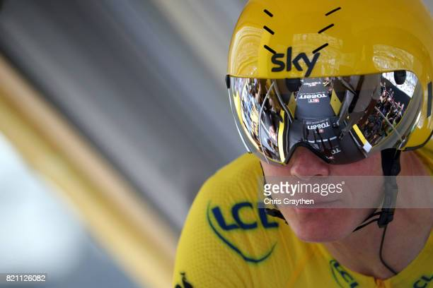 Christopher Froome of Great Britain riding for Team Sky in the leader's jersey prepares to ride during the individual time trial stage 20 of the 2017...