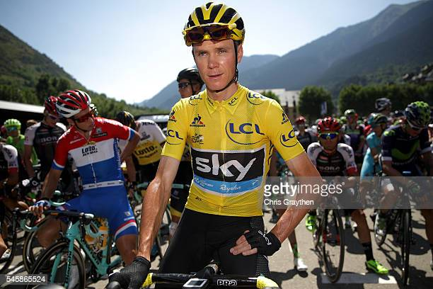 Christopher Froome of Great Britain riding for Team Sky in the yellow leader's jersey prepares to start stage nine of the 2016 Le Tour de France, a...