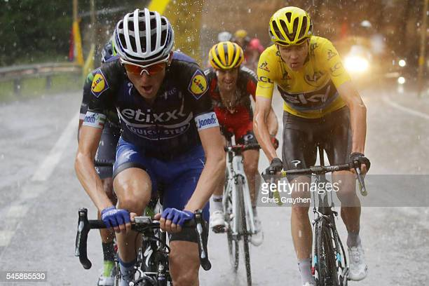 Christopher Froome of Great Britain riding for Team Sky in the yellow leader's jersey rides up the Andorre Arcalis during stage nine of the 2016 Le...