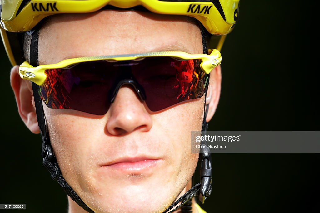 Christopher Froome of Great Britain riding for Team Sky in the yellow leader's jersey prepares to start stage eleven of the 2016 Le Tour de France a 162.5km stage from Carcassonne to Montpellier on July 13, 2016 in Montpellier, France.