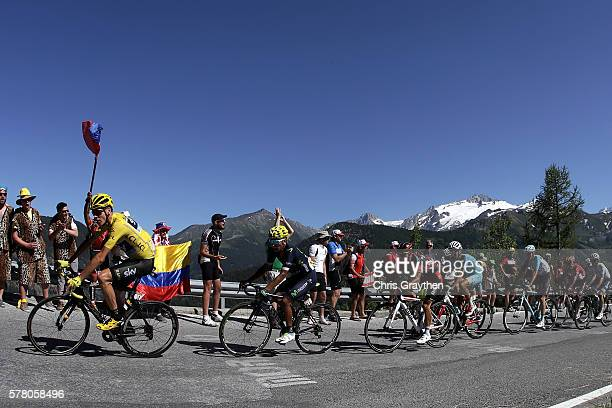 Christopher Froome of Great Britain riding for Team Sky in the yellow leader's jersey rides in the peloton during stage seventeen of the 2016 Le Tour...