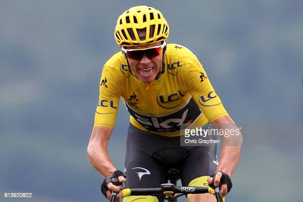 Christopher Froome of Great Britain riding for Team Sky in the yellow leader's jersey crosses the finish line during stage 12 of the 2017 Le Tour de...