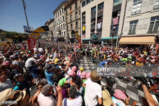 Christopher Froome of Great Britain riding for Team Sky in the yellow leader's jersey starts stage 16 of the 2017 Le Tour de France a 165km stage...