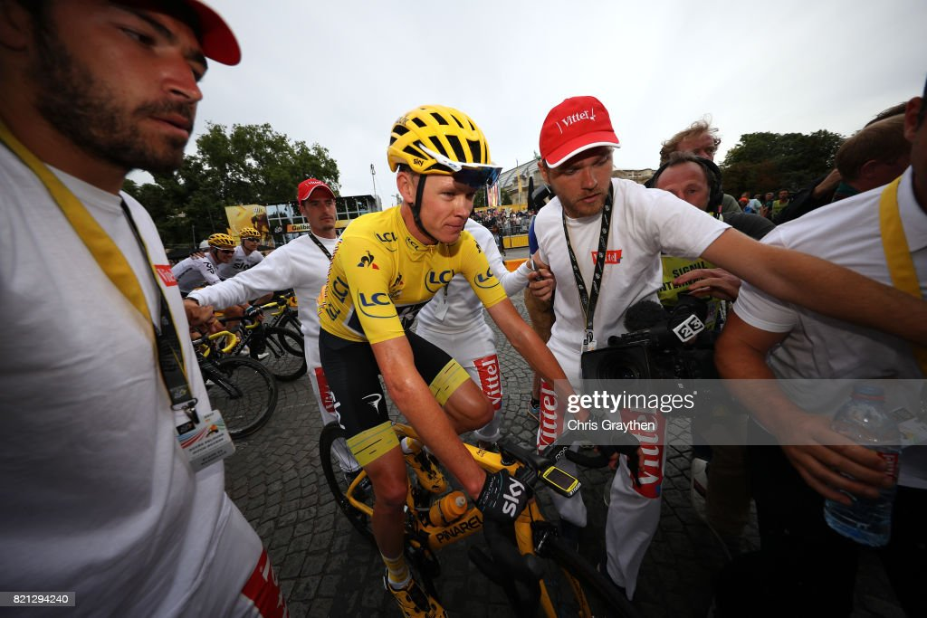 Christopher Froome of Great Britain riding for Team Sky in the yellow leader's jersey crosses the finish line during stage 21 of the 2017 Le Tour de France, a 103km stage from Montgreon to the Paris Champs-Élysées on July 23, 2017 in Paris, France.