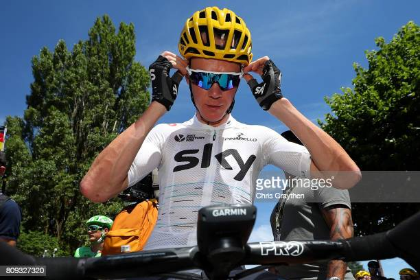 Christopher Froome of Great Britain riding for Team Sky prepares to start stage five of the 2017 Le Tour de France, a 160.5km stage from Vittel to La...