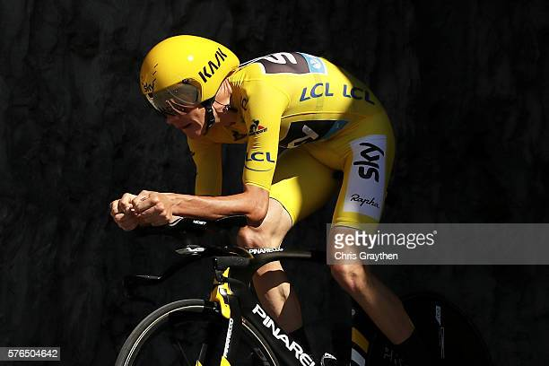 Christopher Froome of Great Britain riding for Team Sky rides during the stage thirteen individual time trial, a 37.5km stage from Bourg-Saint-Andéol...