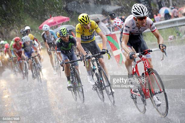 Christopher Froome of Great Britain riding for Team Sky rides in heavy rain duing stage nine of the 2016 Le Tour de France a 1845km stage from Vielha...