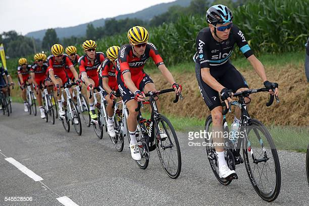 Christopher Froome of Great Britain riding for Team Sky rides in the peloton during stage seven of the 2016 Le Tour de France a 1625km stage from...