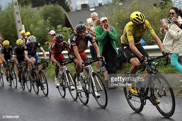 Christopher Froome of Great Britain riding for Team Sky rides in the peloton during stage ninteen of the 2016 Le Tour de France a 146km stage from...