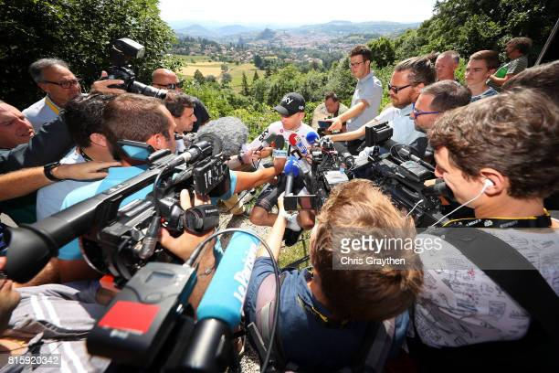 Christopher Froome of Great Britain riding for Team Sky speaks to the media on the second rest day of Le Tour de France 2017 on July 17 2017 in Le...