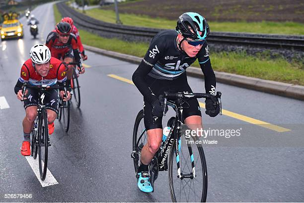 Christopher Froome of Great Britain Tejay van Garderen of USA Pavel Kochetkov of Russia and Bob Jungels of Luxembourg in the attack during stage 4 of...