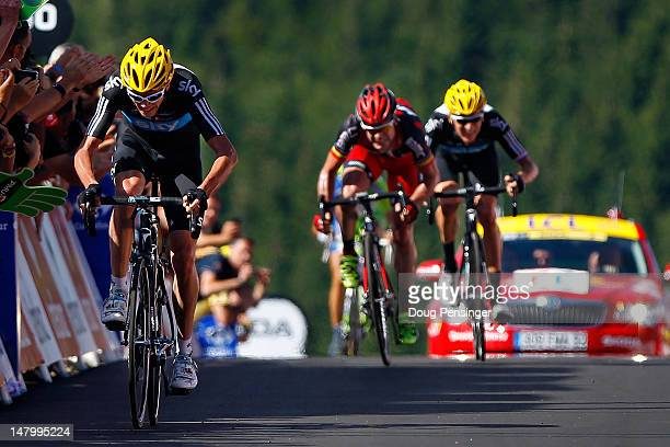 Christopher Froome of Great Britian riding for Sky Procycling sprints for the finish line to win stage seven of the 2012 Tour de France ahead of...