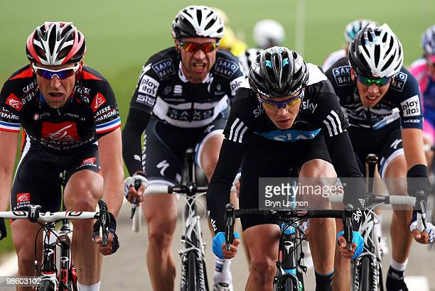 Christopher Froome of Team SKY and Great Britain rides in the breakaway group during the 74th Fleche Wallonne Race on April 21 2010 in Huy Belgium