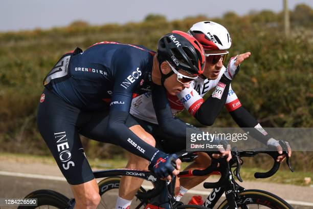 Christopher Froome of The United Kingdom and Team INEOS - Grenadiers / Sergio Henao Montoya of Colombia and UAE Team Emirates / during the 75th Tour...