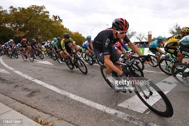 Christopher Froome of The United Kingdom and Team INEOS - Grenadiers / Alexander Edmondson of Australia and Team Mitchelton - Scott / Peloton /...