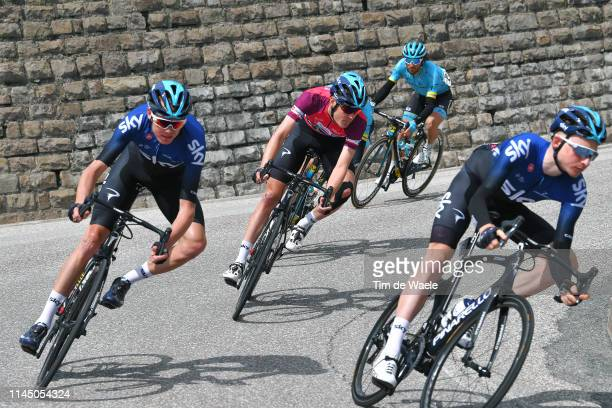 Christopher Froome of United Kingdom and Team Sky / Tao Hart Geoghegan of United Kingdom and Team Sky / Pavel Sivakov of Russia and Team Sky Fuchsia...