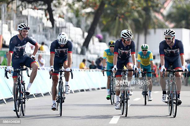Christopher Froome Stephen Cummings Ian Stannard and Geraint Thomas of Great Britain are seen prior to the Men's Road Race on Day 1 of the Rio 2016...
