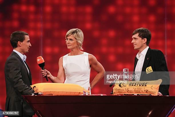 Christopher Fuhrhop, Barbara Hahlweg and Marius Kunkis attend the Deutscher Gruenderpreis 2015 on June 30, 2015 in Berlin, Germany.