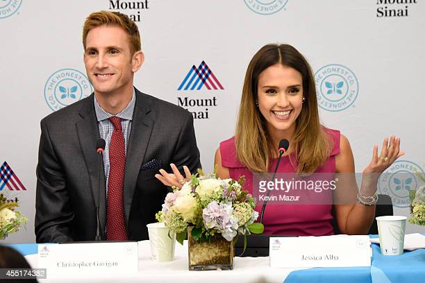 Christopher Gavigan and Jessica Alba attend the unveiling of The Honest Company Ultra Clean Room at The Mount Sinai Hospital on September 10 2014 in...