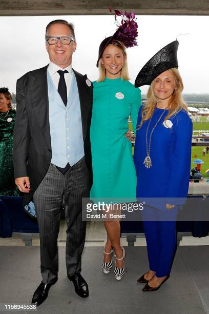 Christopher Getty, Isabel Getty and Pia Getty on day 2 of Royal Ascot at Ascot Racecourse on June 19, 2019 in Ascot, England.