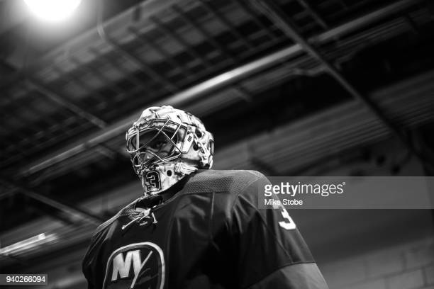 Christopher Gibson of the New York Islanders gets set for warmups prior to the game against Toronto Maple Leafs at Barclays Center on March 30 2018...
