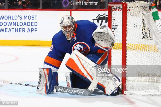 Christopher Gibson of the New York Islanders skates against the Florida Panthers at Barclays Center on March 26 2018 in New York City Florida...