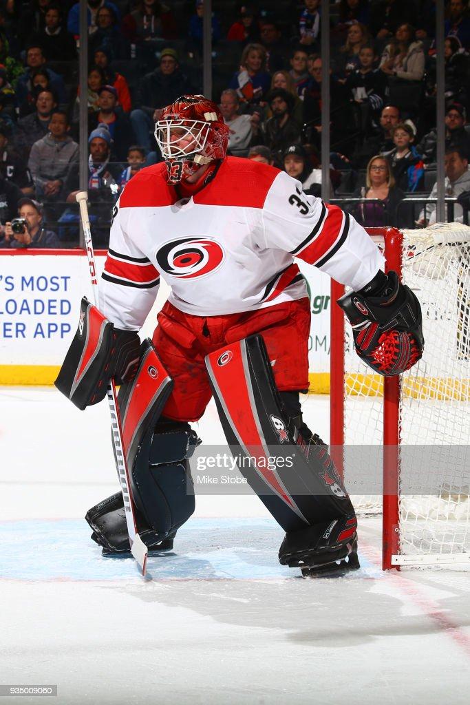 Christopher Gibson #33 of the New York Islanders skates against the Carolina Hurricanesat Barclays Center on March 18, 2018 in New York City. Carolina Hurricanes defeated the New York Islanders 4-3