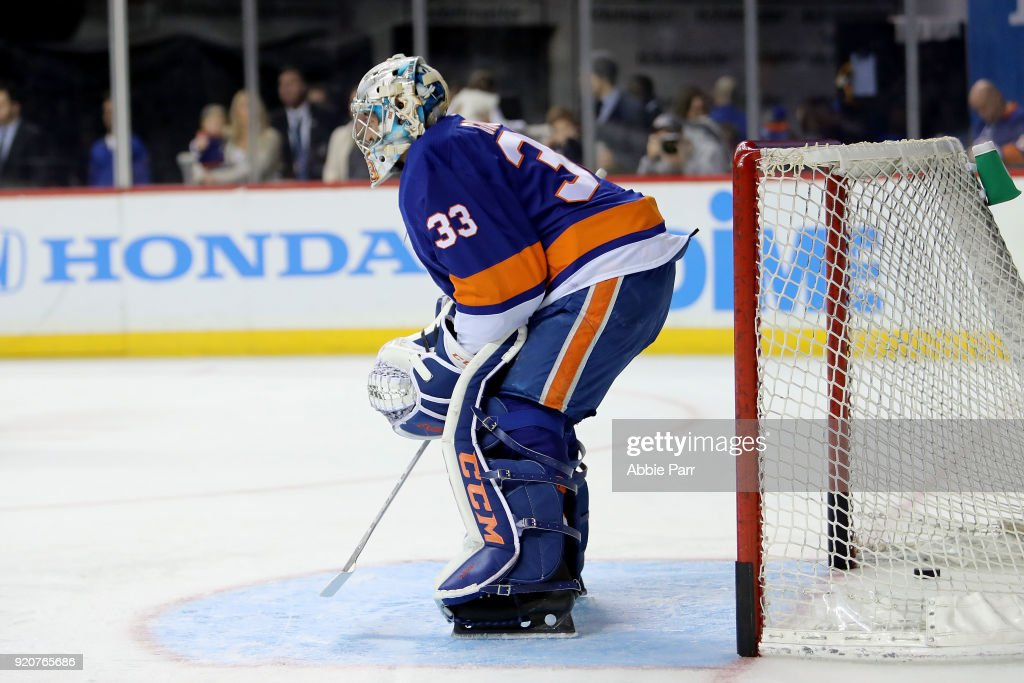 Christopher Gibson #33 of the New York Islanders warms up after being called up prior to taking on the Minnesota Wild during their game at Barclays Center on February 19, 2018 in the Brooklyn borough of New York City.