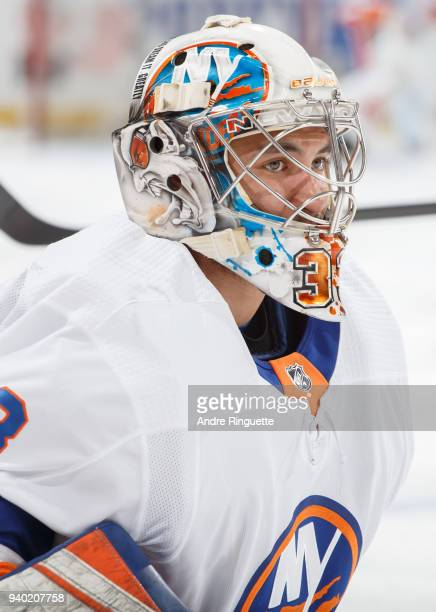 Christopher Gibson of the New York Islanders warms up prior to a game against the Ottawa Senators at Canadian Tire Centre on March 27 2018 in Ottawa...