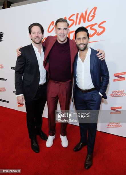 Christopher Girbs Lewis Howes and Dhru Purohit attend Lewis Howes Documentary Live Premiere Chasing Greatness at Pacific Theatres at The Grove on...