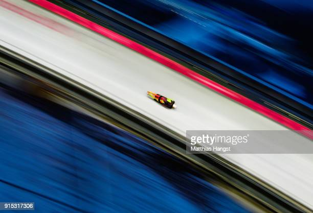 Christopher Grotheer of Germany practices during Men's Skeleton training ahead of the PyeongChang 2018 Winter Olympic Games at the Olympic Sliding...