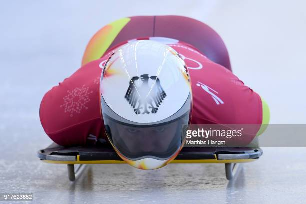 Christopher Grotheer of Germany trains during the Mens Skeleton training session on day four of the PyeongChang 2018 Winter Olympic Games at Olympic...
