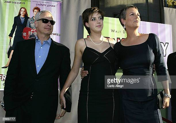 Christopher Guest daughter Annie and wife Jamie Lee Curtis arrive at the premiere of the Disney film Freaky Friday at the El Capitan theater August 4...
