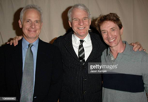 Christopher Guest Steve Martin and Martin Short during Martin Short Steve Martin And Christopher Guest Sighting Backstage at Fame Becomes Me...