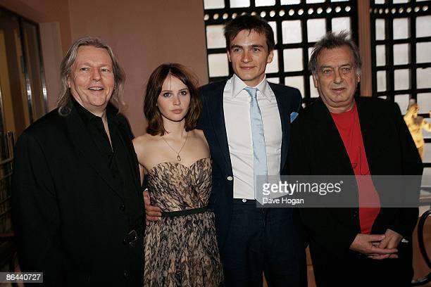 Christopher Hampton Felicity Jones Rupert Friend and Stephen Frears attend the UK Premiere of 'Cheri' held at The Cine lumiere Institut Francais...