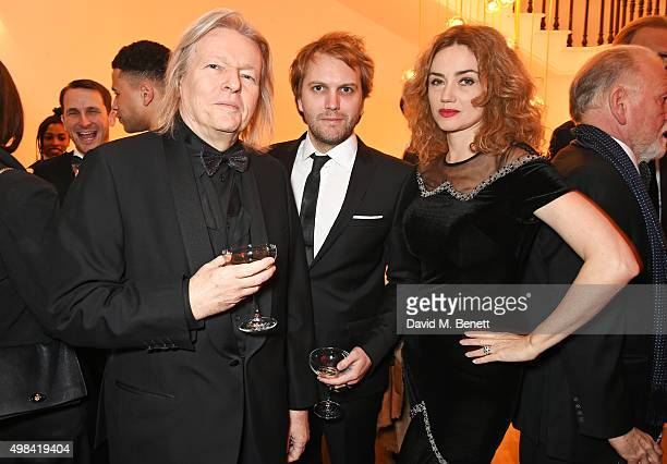 Christopher Hampton Florian Zeller and Marine Delterme attend a champagne reception ahead of The London Evening Standard Theatre Awards in...