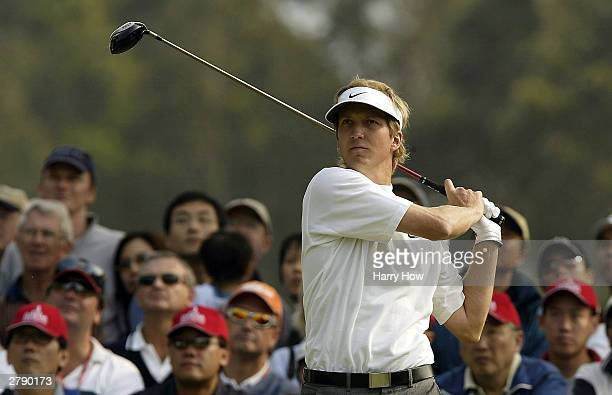 Christopher Hanell of Sweden watches his tee shot on the 11th hole during the final round of the Omega Hong Kong Open on December 7, 2003 at Hong...