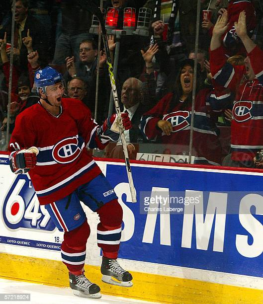 Christopher Higgins of the Montreal Canadiens celebrates scoring a goal against the Washington Capitals at the Bell Centre March 30 2006 in Montreal...